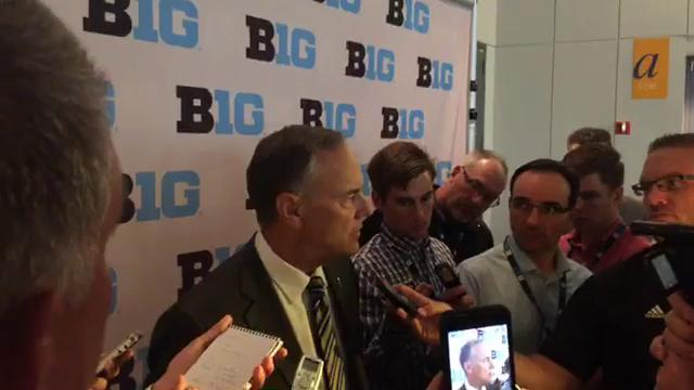 Michigan State football coach Mark Dantonio talks with reporters at Big Ten media days on July 24, 2017. Video by Chris Solari, DFP.