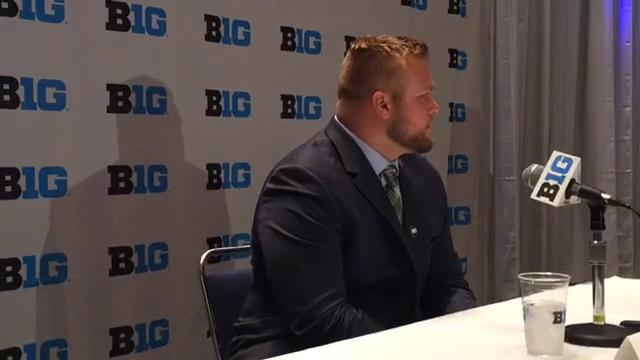 Michigan State offensive lineman Brian Allen talked to reporters during Big Ten media days in Chicago on Monday, July 24, 2017. Video by Chris Solari/DFP