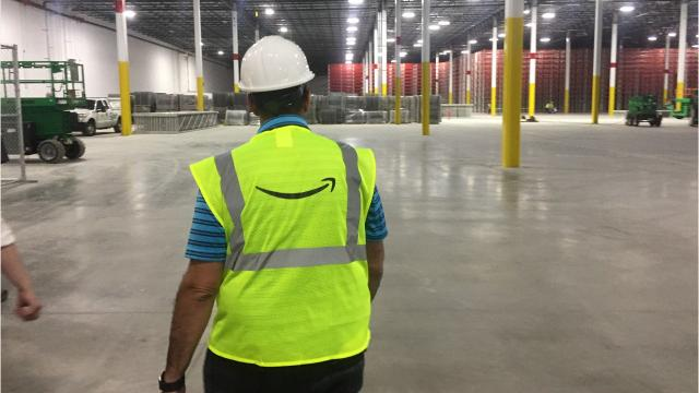 Amazon.com, the Seattle-base online retailer, gave a first glimpse Wednesday of its still under-construction warehouse in Livonia