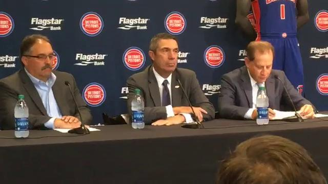 The Detroit Pistons and Flagstar Bank announce a deal that puts Flagstar patches on Pistons' Nike uniforms on July 26, 2017. Video by Vince Ellis, DFP.