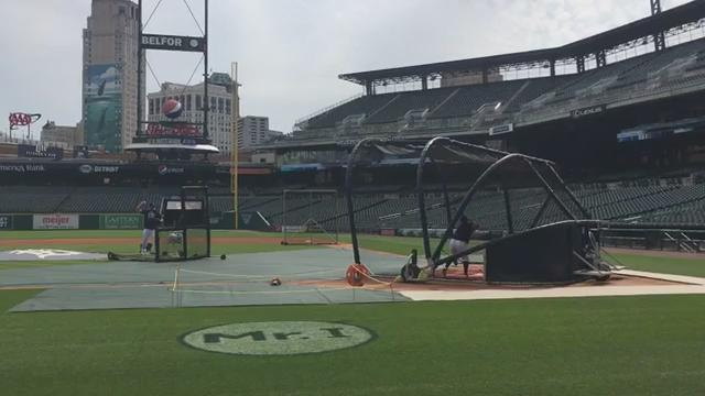 Watch Victor Martinez's son, Victor Martinez, take batting practice at Comerica Park before the Tigers' game against the Royals on July 26, 2017.