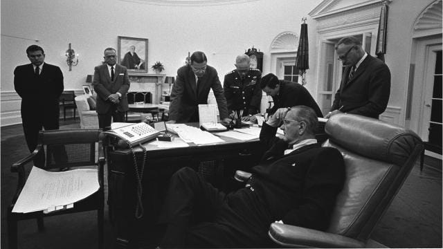 Listen to this recording of a phone call between President Lyndon B. Johnson and FBI director J. Edgar Hoover talking about the Detroit riot and Martin Luther King Jr.