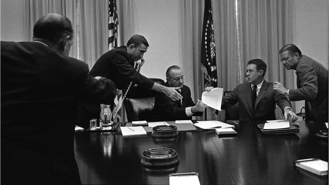 Listen to a telephone recording of President Lyndon B. Johnson and New York Mayor John Lindsay talking about the Kerner Commission.