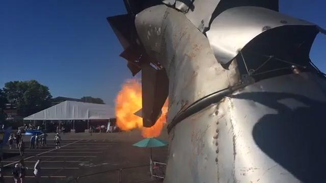 A fire-breathing dragon car at Maker Faire in Dearborn