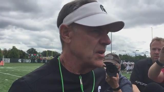 Michigan State coach Mark Dantonio discusses the Spartans' first week of preseason camp, including offensive line play Friday, Aug. 4, 2017.