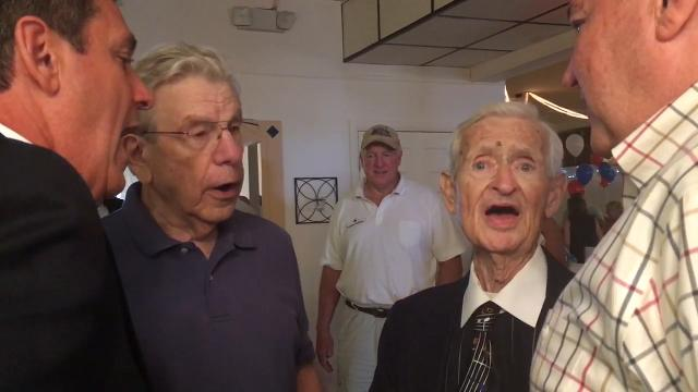 92-year-old WW II veteran with terminal cancer sings at his own wake.