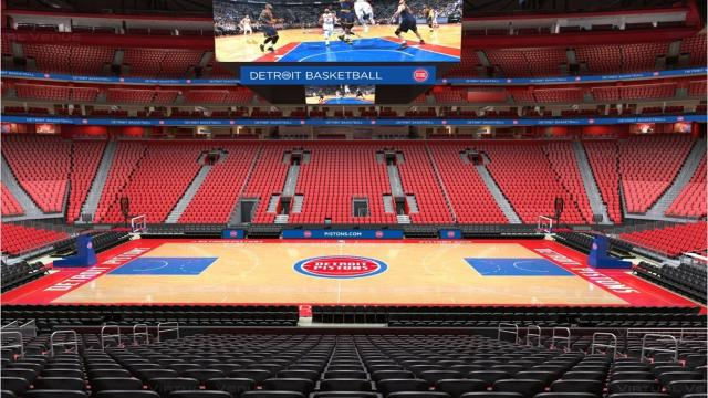 timeless design fc92b 4206a Look  Detroit Pistons install court at Little Caesars Arena