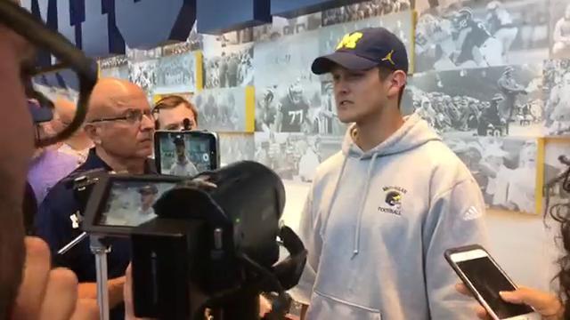 Michigan quarterback John O'Korn spoke to the media on Wednesday, Aug. 16, 2017, in Ann Arbor. Video by Jeff Seidel/DFP