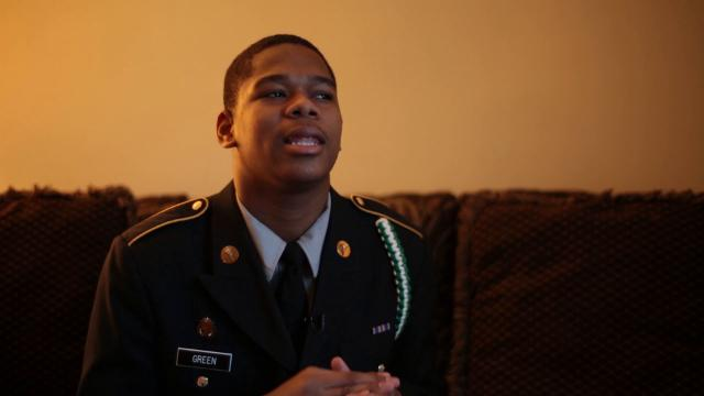 Myles Green is 15, a resident of the Sojourner Truth Housing Project, and a member of the JROTC, a high-school officer training program for the U.S. Armed Forces.