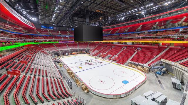 Ice installed at Little Caesars Arena for first time