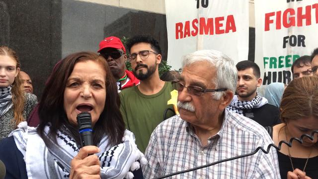 Rasmieh Odeh, speaks outside of the Theodore Levin U.S. Courthouse in Detroit after a federal judge orderedRasmieh Odeh, a former Michigan resident, to pay a $1,000 fine and be deported to Jordan.