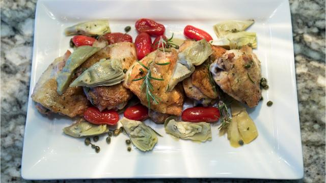 Here's an easy recipe for Chicken Thighs with Rosemary Vinaigrette.