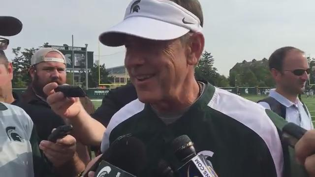 "Michigan State coach Mark Dantonio said the Spartans ""can see the light at the end of the tunnel"" of preseason camp. (Chris Solari/DFP)"