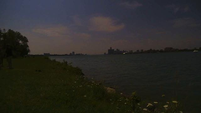 A time lapse camera was focused on the Detroit skyline during the eclipse from Belle Isle. Mandi Wright, Detroit Free Press