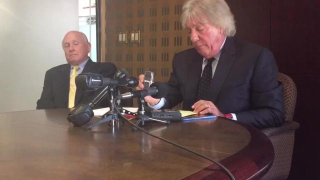 Attorney Geoffrey Fieger plays an audio recording he says was taken by the Farmington Hills Police Department of a conversation between his client, Renee Swain of Novi, and attorney Mike Morse.