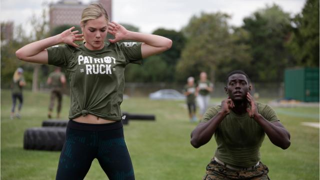 Kate Upton works out with Marines