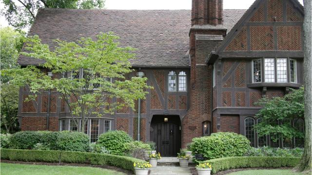 At 7,700 square feet with Tudor timbers over herringbone brick, it's considered one of the grand old houses of the Grosse Pointes