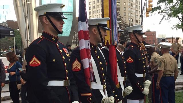 Detroit Marine Week kicked off Sept. 6, 2017 in Campus Martius. The ceremony featured music from the Marine Band San Diego and a demonstration by the Marine Corps Silent Drill Platoon.