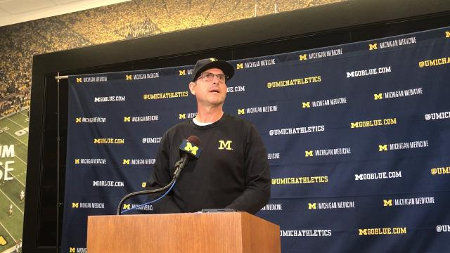 Michigan football coach Jim Harbaugh speaks during a news conference Sept. 11, 2017, as the team gets ready to play Air Force. Video by Nick Baumgardner, DFP.