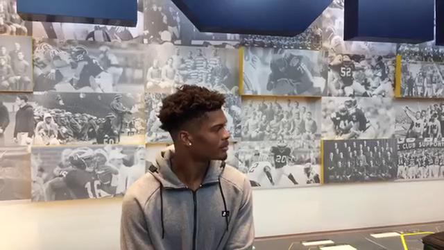 Michigan wide receiver Tarik Black fields questions during a media session on Tuesday, Sept. 12, 2017, in Ann Arbor. Video by George Sipple/DFP