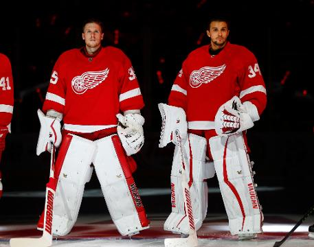 Detroit Red Wings goaltenders Petr Mrazek and Jimmy Howard and coach Jeff Blashill talk Saturday, Sept. 16, 2017, at Centre Ice Arena in Traverse City. Video by Helene St. James/DFP