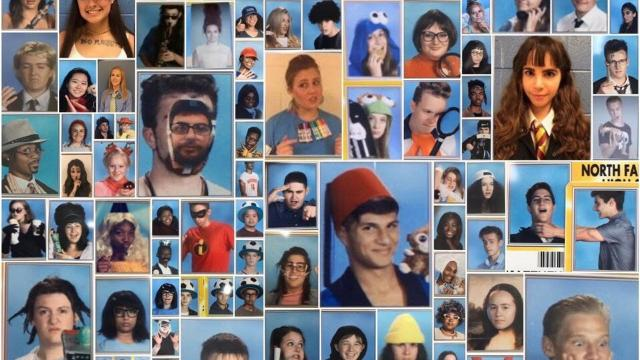 Seniors at the school each year are allowed to pose for ID photos dressed in crazy costumes and this year they dressed as their favorite celebrity, movie character or meme.