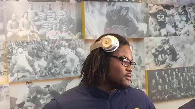 Michigan defensive tackle Rashan Gary speaks with the media on Monday, Sept. 18, 2017, in Ann Arbor. Video by George Sipple/DFP