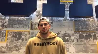 Michigan tight end Sean McKeon takes questions from reporters on Tuesday, Sept. 19, 2017, in Ann Arbor. Video by George Sipple/DFP