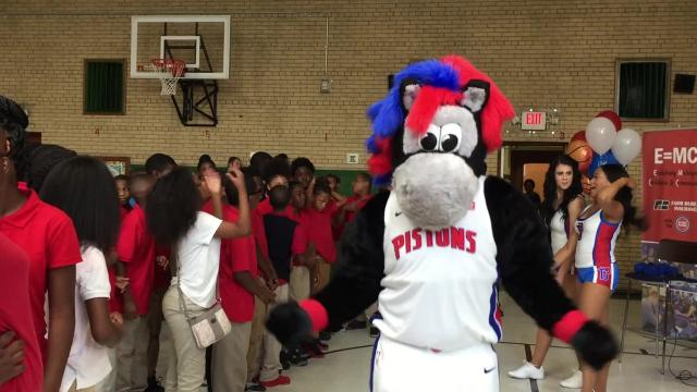 The Detroit Pistons and Farm Bureau Insurance teamed up to create a library for students attending J.E. Clark Preparatory Academy in the Detroit Public Schools Community District.