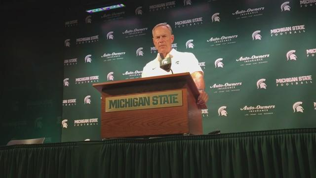 Turnovers and penalties proved costly in MSU's 38-18 loss to Notre Dame at Spartan Stadium. Mark Dantonio, Brian Lewerke, Chris Frey, Brian Allen and Andrew Dowell discuss what happened in the defeat Saturday, Sept. 23, 2017.