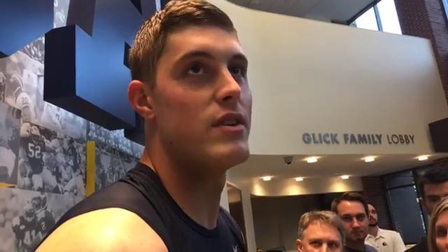 Michigan tight end Zach Gentry answered questions from the media on Tuesday, Oct. 3, 2017, in Ann Arbor. Video by George Sipple/DFP