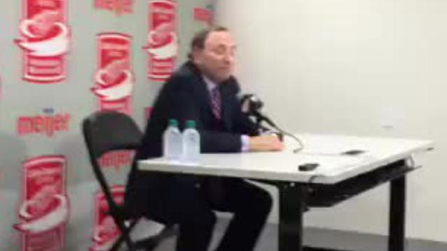 NHL commissioner Gary Bettman speaks to reporters at the new Little Caesars Arena in Detroit on Oct. 5, 2017, ahead of the Red Wings' season opener against the Minnesota Wild. Video by George Sipple, DFP.