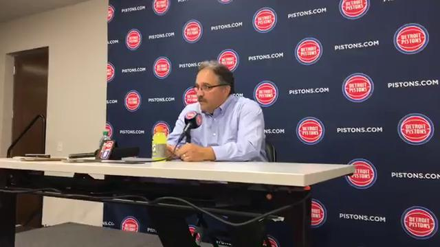 Pistons coach Stan Van Gundy fields questions after the 109-87 preseason win over the Hawks on Friday, Oct. 6, 2017, at Little Caesars Arena. Video by Vince Ellis/DFP