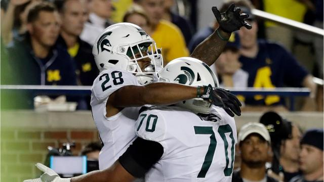 We look back at five of the biggest plays from Michigan State's 14-10 upset of No. 7 Michigan at Michigan Stadium on a wet and wild night in Ann Arbor on Saturday, Oct. 7, 2017. Video by Marlowe Alter, Detroit Free Press