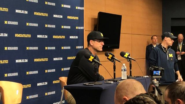 Michigan coach Jim Harbaugh speaks during his postgame news conference after Michigan State's 14-10 win on Saturday, Oct. 7, 2017, in Ann Arbor. Video by Nick Baumgardner/DFP
