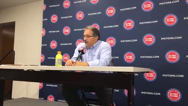 Pistons coach Stan Van Gundy assesses his team's performance after the 107-97 exhibition win over the Pacers on Monday, Oct. 9, 2017, at Little Caesars Arena. Video by Vince Ellis/DFP