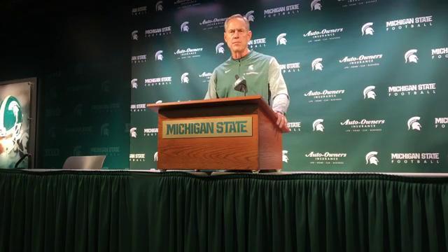 Michigan State football coach Mark Dantonio speaks to the media Oct. 10, 2017 in East Lansing. By Chris Solari, DFP. MSU's