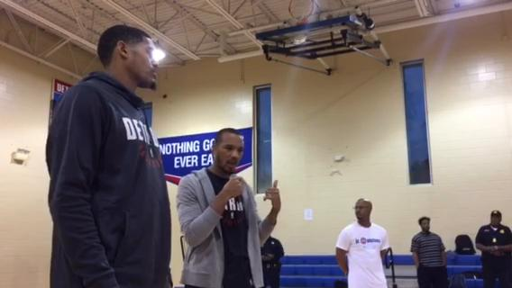 Tobias Harris and Avery Bradley answer questions from youth at Building Bridges through Basketball program at S.A.Y. Detroit Play Center on Wednesday, Oct. 11, 2017.