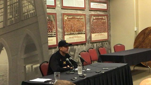 Michigan coach Jim Harbaugh addresses the media after the 27-20 overtime win over Indiana on Sat. Oct. 14, 2017, in Bloomington, Ind. Video by Nick Baumgardner/DFP