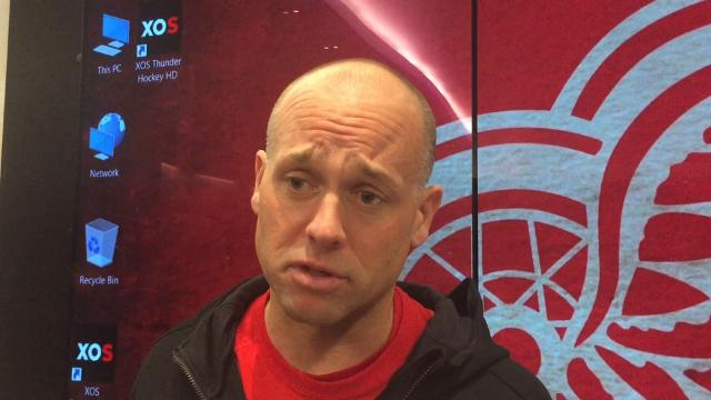 Red Wings coach Jeff Blashill talks Oct. 16, 2017 about what Luke Witkowski brings to the team at Little Caesars Arena. By Helene St. James, DFP.