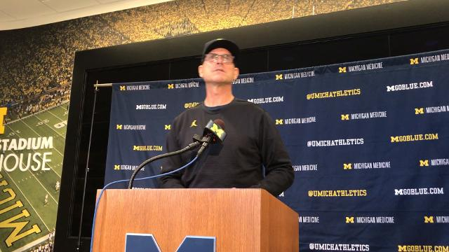 Michigan football coach Jim Harbaugh speaks to the media Oct. 16, 2017, leading into Penn State. By Nick Baumgardner, DFP.