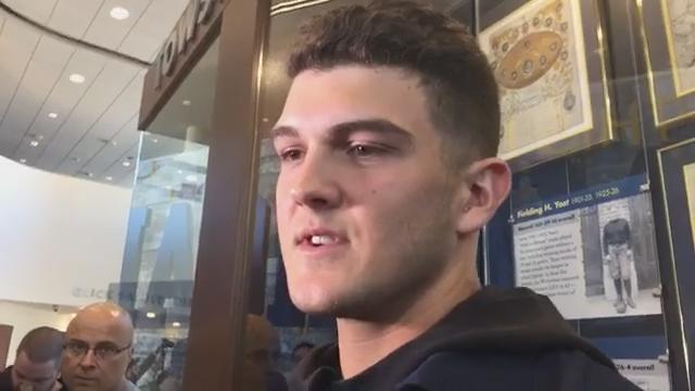 Michigan quarterback John O'Korn speaks to the media Oct. 16, 2017, heading into the Penn State showdown. By George Sipple, DFP.