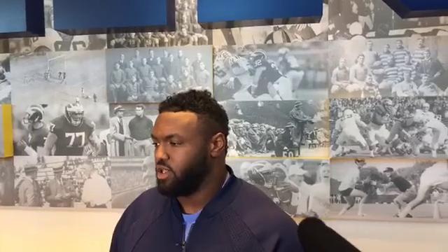 Michigan defensive lineman Maurice Hurst speaks to the media Oct. 16, 2017, heading into the Penn State showdown. By George Sipple, DFP.