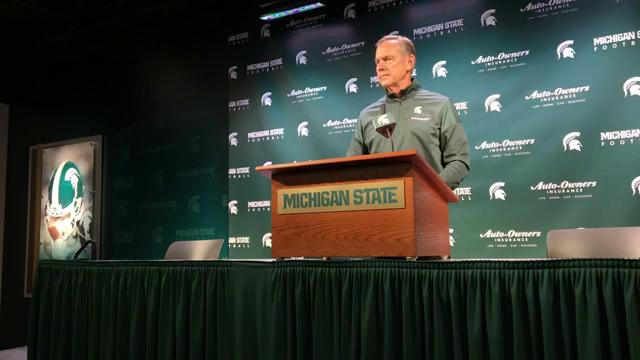 Michigan State football coach Mark Dantonio talks to the media Oct. 17, 2017, before the Spartans play Indiana later in the week. By Chris Solari, DFP.