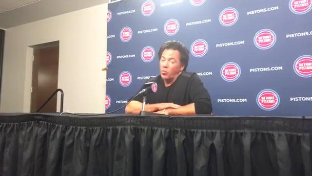 Pistons owner Tom Gores talks about Little Caesars Arena and the Palace, players' rights during the national anthem, his confidence in Stan Van Gundy as president and coach, and more before the season opener at Little Caesars Arena on Oct. 18, 2017.