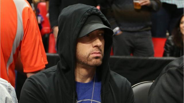Eminem surprises fans at Little Caesars Arena Wednesday night during the Detroit Pistons home opener.