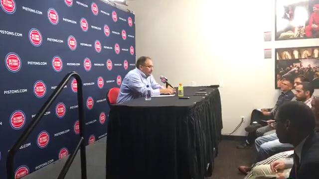 Stan Van Gundy recaps the Pistons' 102-90 win over the Hornets in the first official game at Little Caesars Arena in the season opener on Wednesday, Oct. 18, 2017.
