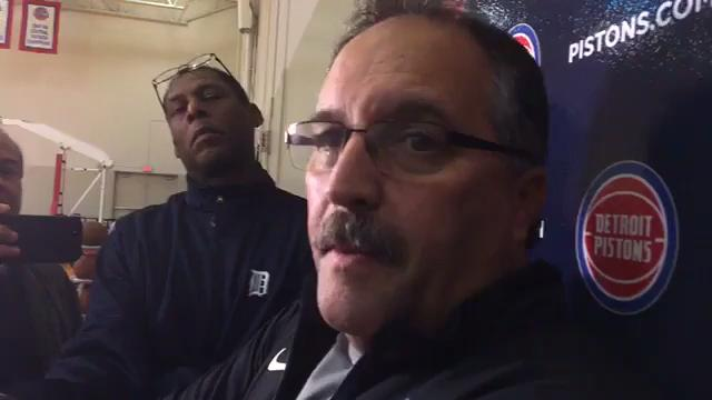 Stan Van Gundy encourages Stanley Johnson to keep shooting after 0-for-13 night in Detroit Pistons' season-opening victory against the Charlotte Hornets. Recorded Thursday, Oct. 19, 2017.