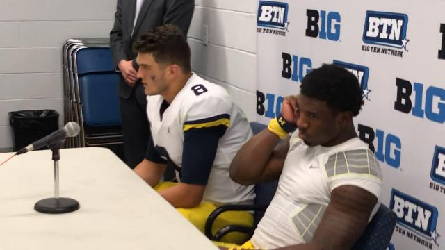 Players address the media after the Michigan Wolverines lost to Penn State, 42-13.