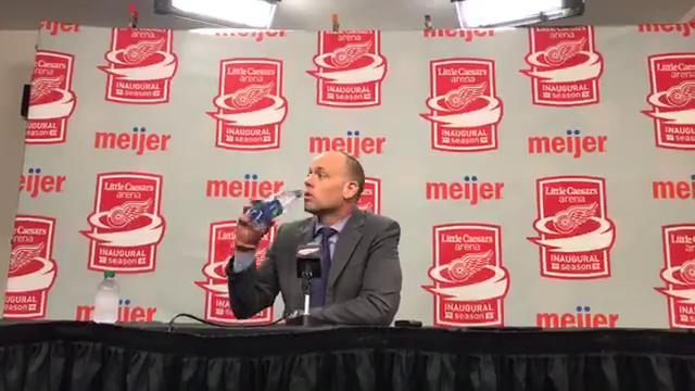 Watch Red Wings coach Jeff Blashill rip his team's effort for three minutes after a 4-1 loss to the Canucks at Little Caesars Arena on Sunday, Oct. 22, 2017.